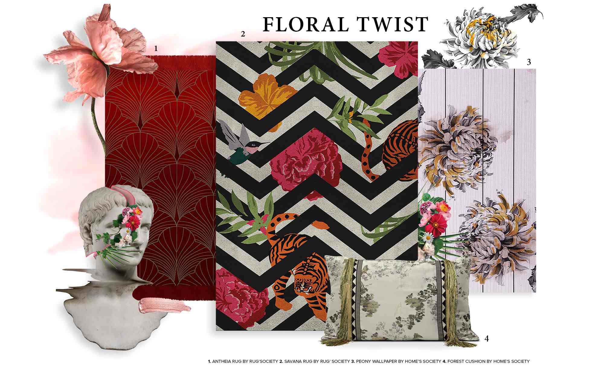 floral twist mood boards MoodBoards – get inspired by trendy colors and textures floral twist trends 2019 interior design mood board